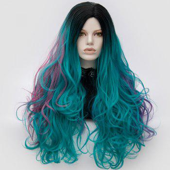 Long Middle Part Fluffy Colormix Layered Wavy Cosplay Wig - GREEN GREEN