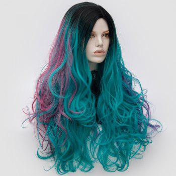 Long Middle Part Fluffy Colormix Layered Wavy Cosplay Wig - GREEN