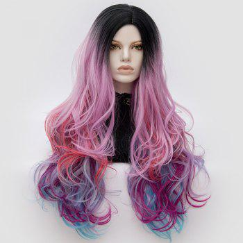 Long Middle Part Fluffy Colormix Layered Wavy Cosplay Wig - BLACK AND PINK BLACK/PINK
