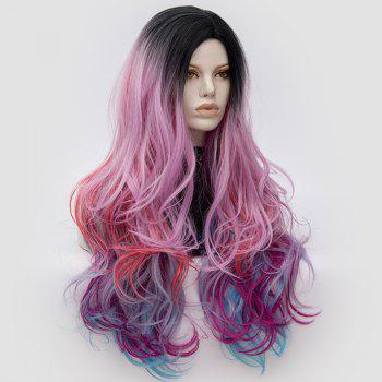 Long Middle Part Fluffy Colormix Layered Wavy Cosplay Wig - BLACK/PINK