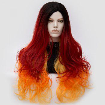 Long Middle Part Fluffy Colormix Layered Wavy Cosplay Wig - ORANGE ORANGE