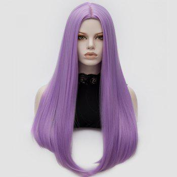 Long Center Part Straight Tail Adduction Cosplay Wig - PINKISH PURPLE
