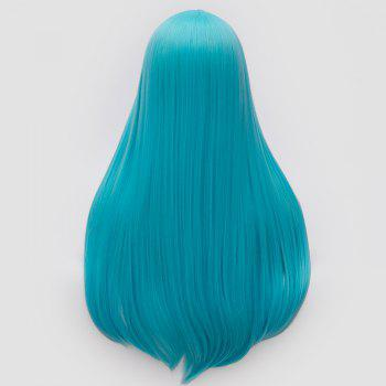 Long Center Part Straight Tail Adduction Cosplay Wig - BLUE