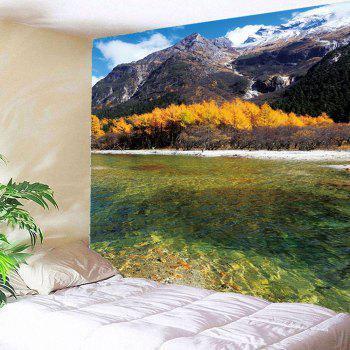 Clouds Mountains Forest River Wall Waterproof Tapestry - COLORFUL W79 INCH * L71 INCH