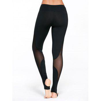 Sheer Mesh Panel Workout Leggings with Stirrup - BLACK M
