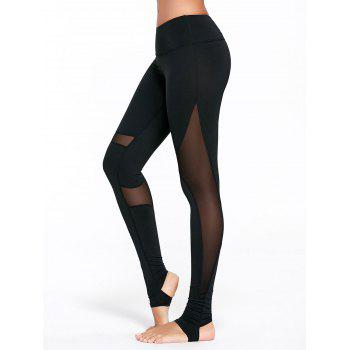 Sheer Mesh Panel Workout Leggings with Stirrup - BLACK BLACK