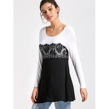 Lace Panel Long Sleeve Tunic Top - WHITE/BLACK 2XL