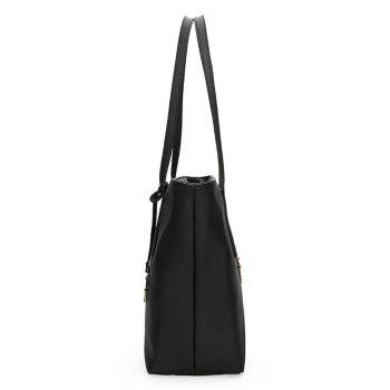 PU Leather 3 Pieces Shoulder Bag Set - BLACK