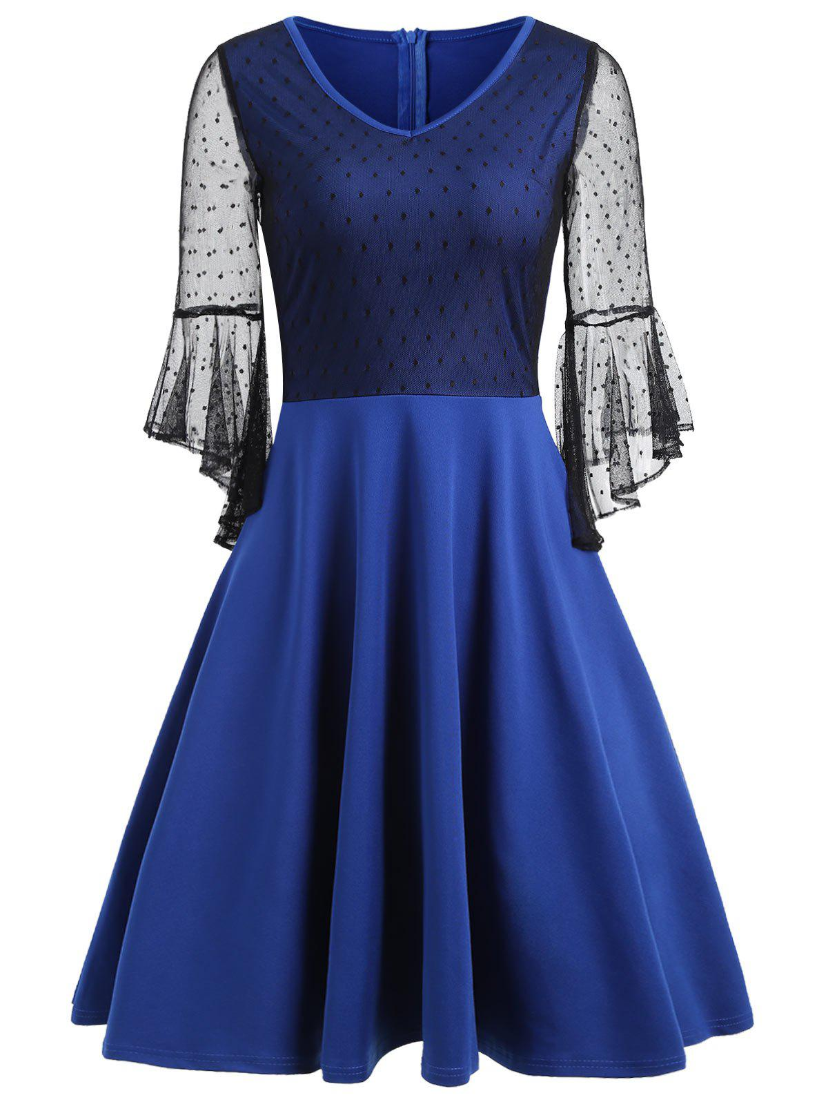 Bell Sleeve Mesh Insert Skater Dress - BLUE L