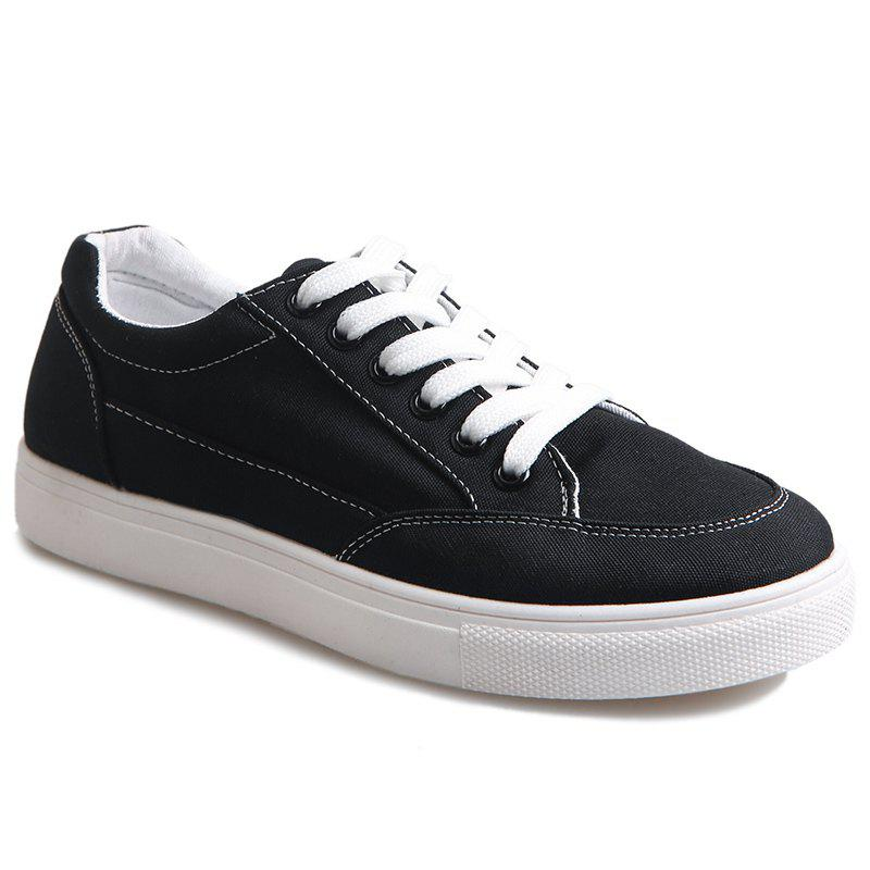 Eyelet Stitching Canvas Shoes - BLACK 37