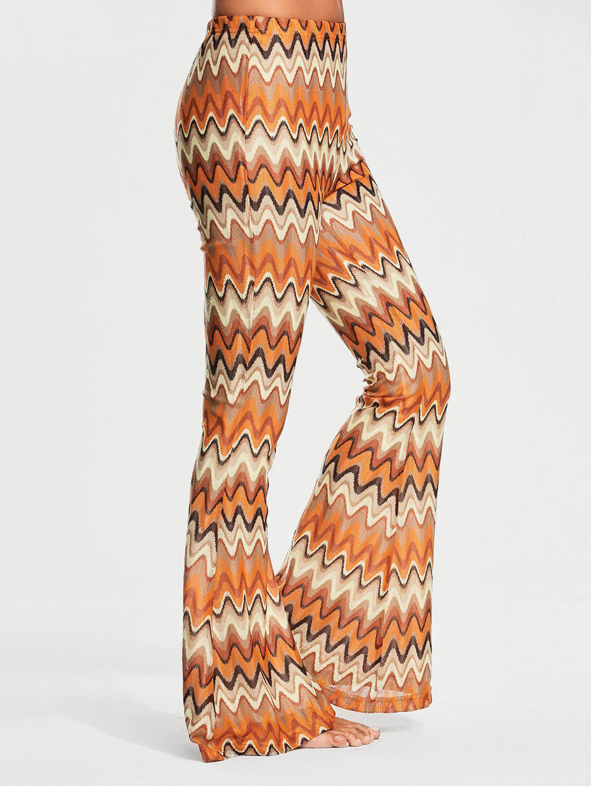 Elastic Waist Melted Stripe Print Flare Pants - COLORMIX L