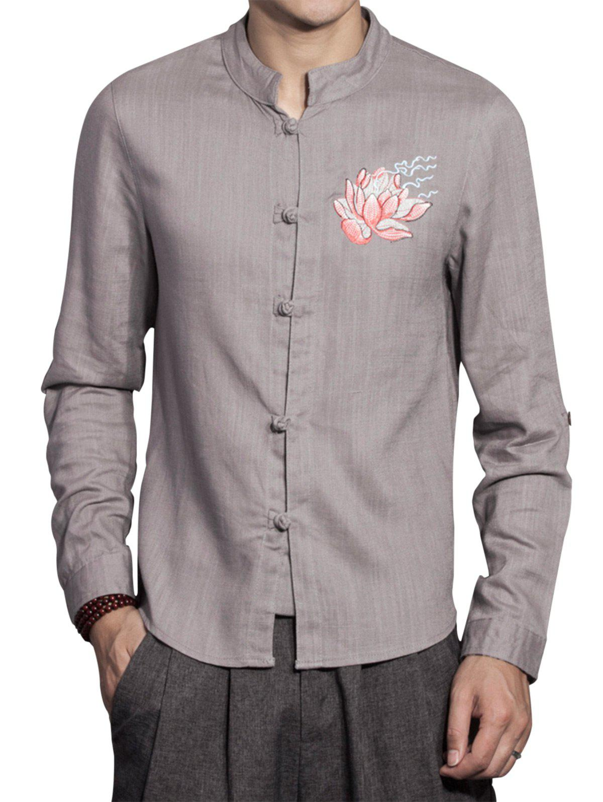 Cotton Linen Mandarin Collar Floral Embroidered Shirt - GRAY L