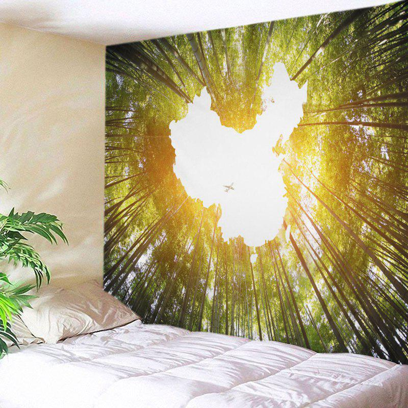 2018 Bamboo Forest Sky Print Tapestry Wall Hanging Decor YELLOW ...
