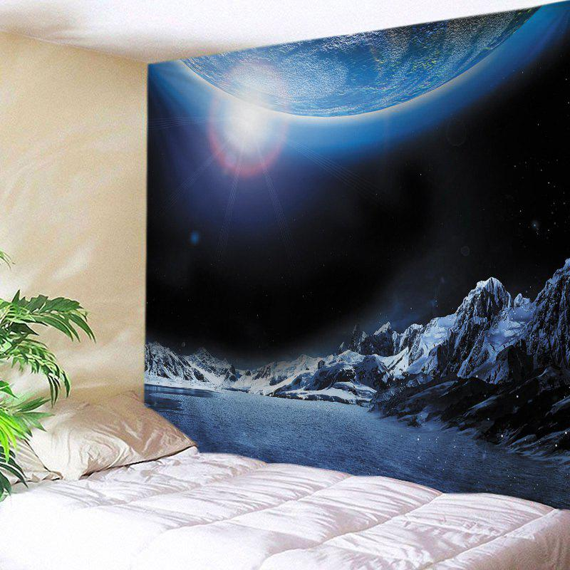 Earth Lake Print Tapestry Wall Hanging Art - DEEP BLUE W59 INCH * L51 INCH