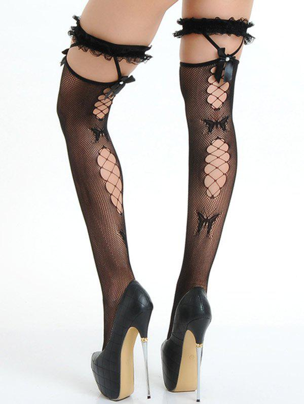 Ruffles Ripped Fishnet Stocking with Bowknot - BLACK ONE SIZE