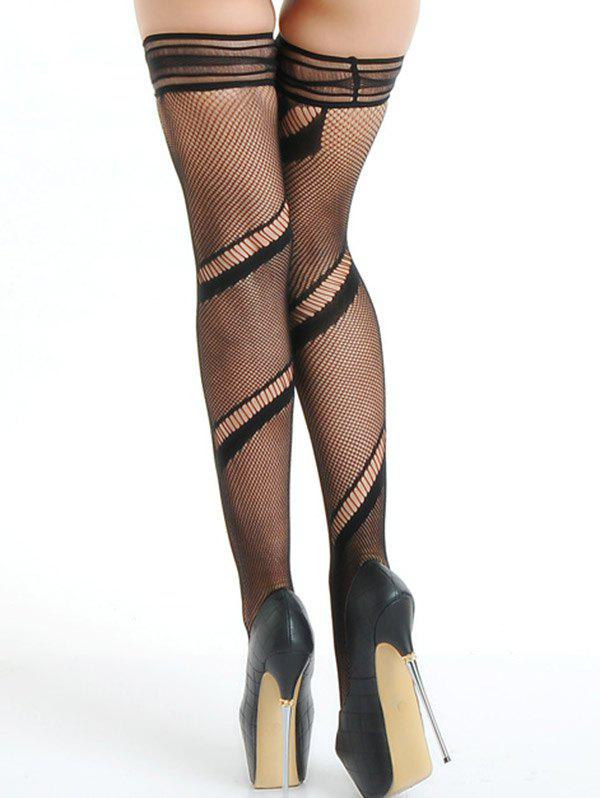 Ripped Mesh Fishnet Stocking - BLACK ONE SIZE