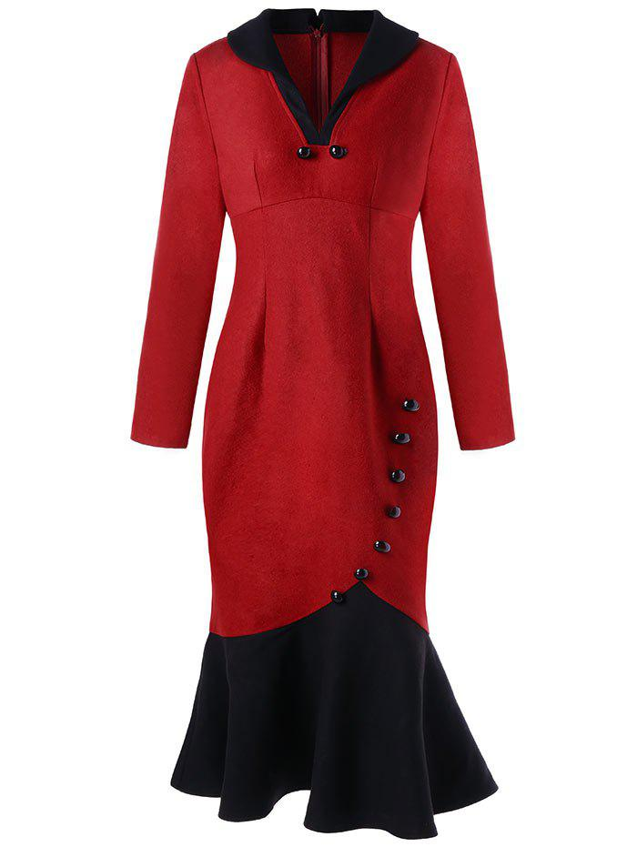 Button Detail Long Sleeve Fishtail Dress - RED XL