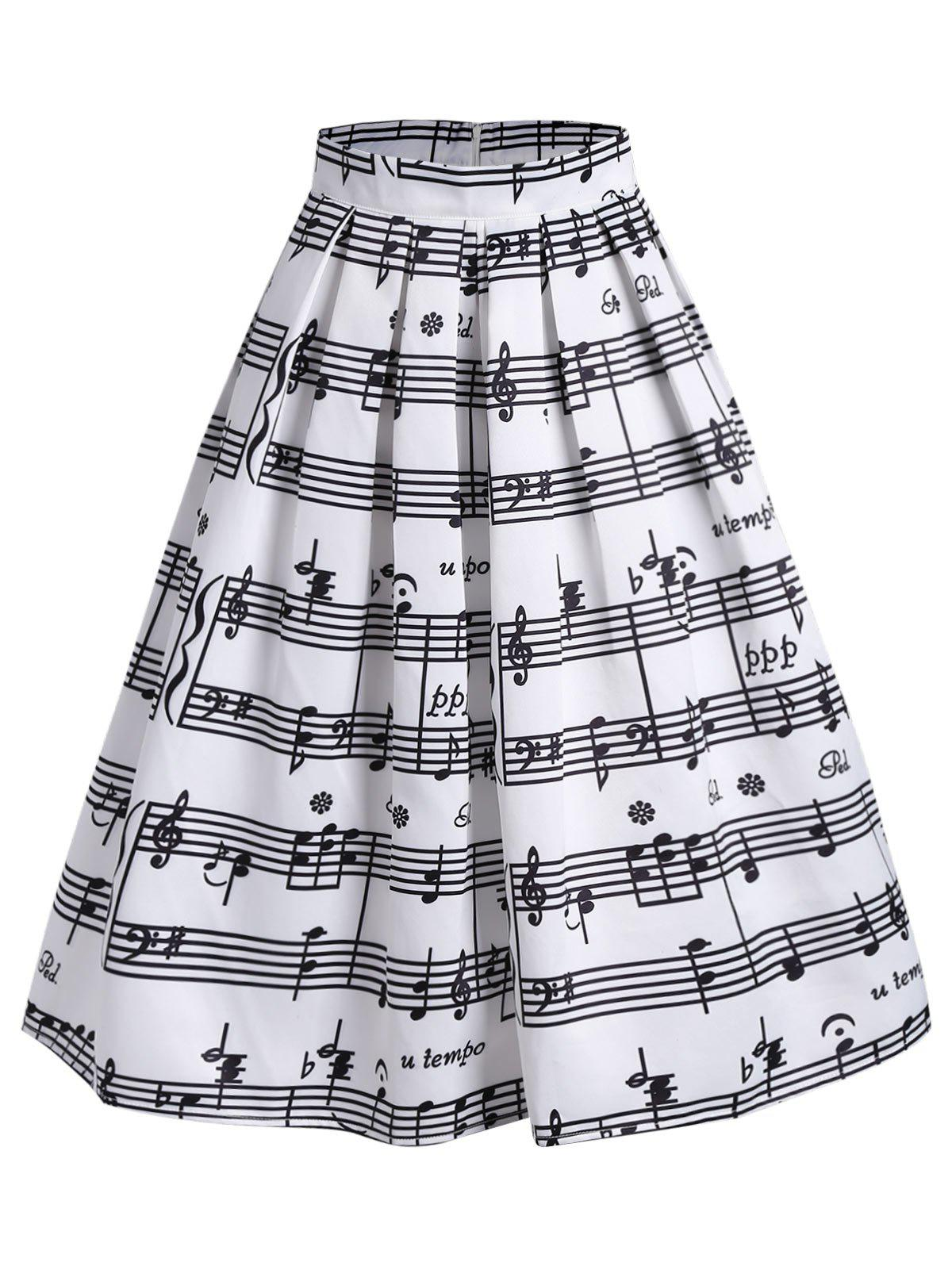 High Waist Music Notes Jupe Midi - Blanc L
