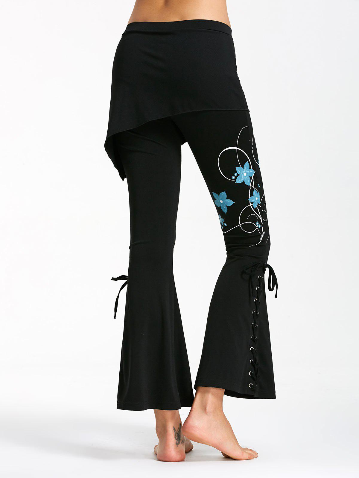Criss Cross Bottom Print Flare Pants - Noir et Bleu XL