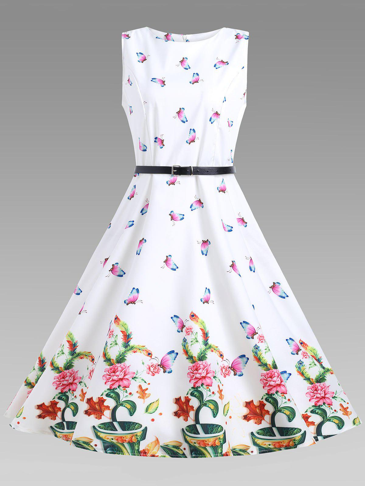 Sleeveless Floral A Line Vintage Dress - WHITE L