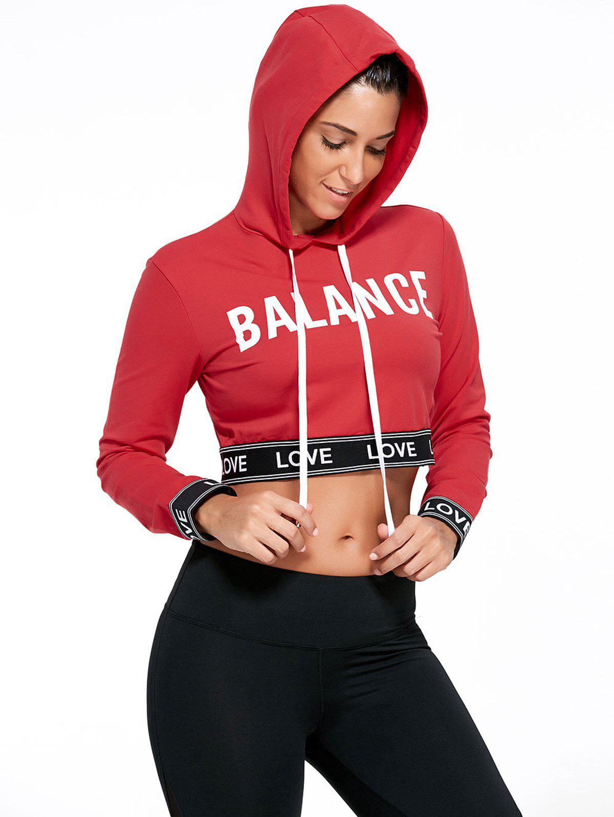 Balance Graphic Sports Crop Hoodie - RED L