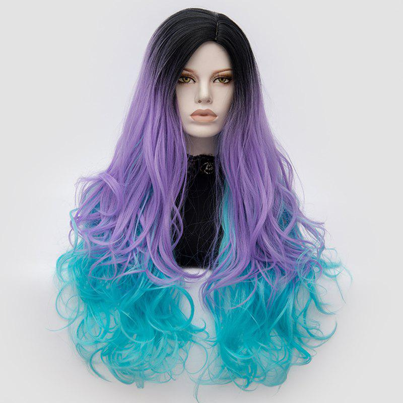 Longue partie médiane Fluffy Colormix Layered Wavy Cosplay Wig - Noir et Violet