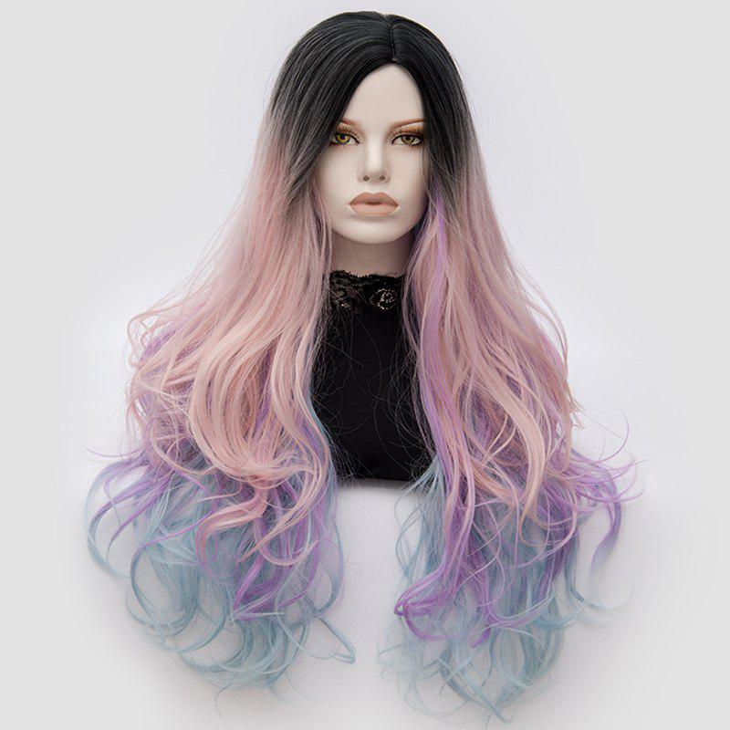 Long Middle Part Fluffy Colormix Layered Wavy Cosplay Wig - PINK/PURPLE