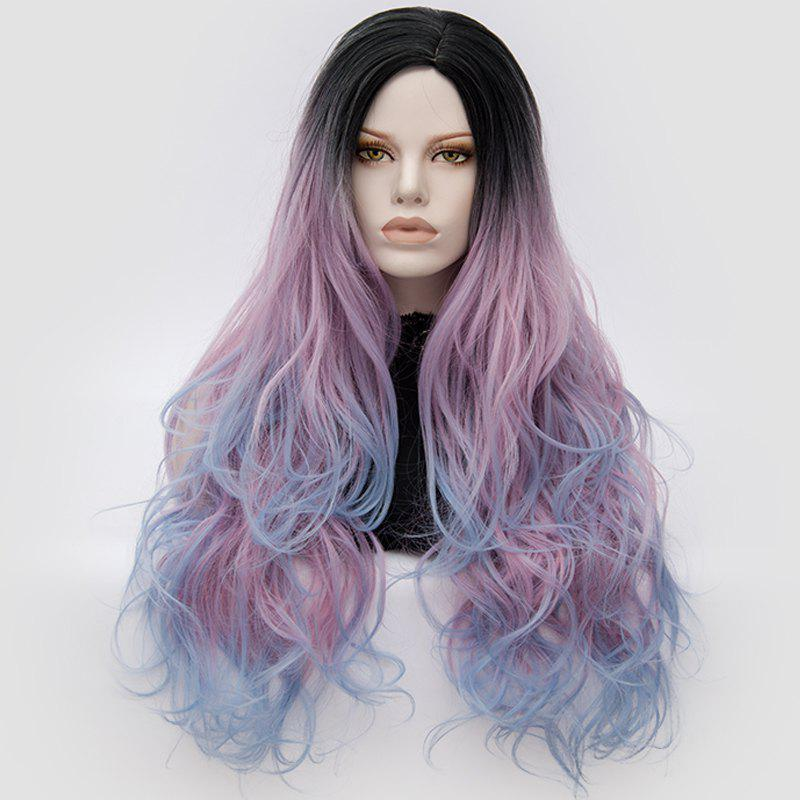 Long Middle Part Fluffy Colormix Layered Wavy Cosplay Wig - PINKISH BLUE