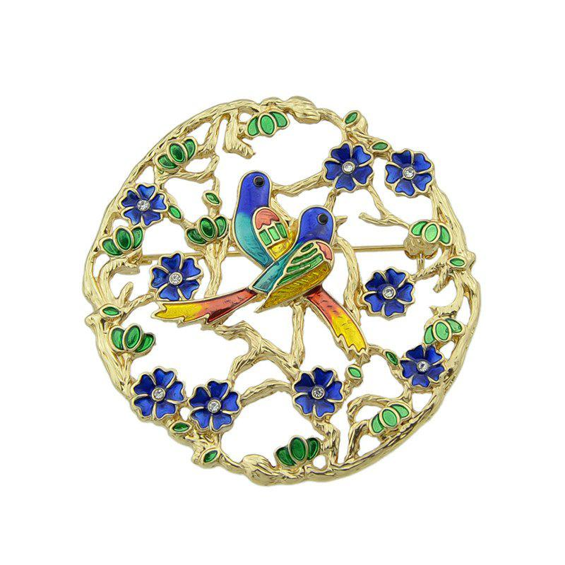 Rhinestone Bird Flower Circle Brooch - GOLDEN