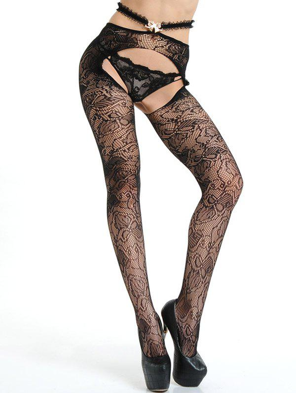 Crotchless Lace Fishnet Tights - BLACK ONE SIZE