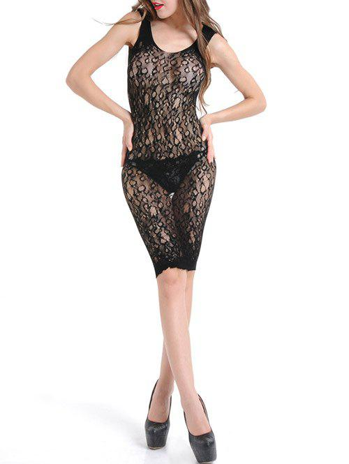 Voir à travers Bodycon Lace Dress - Noir ONE SIZE