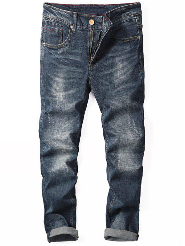 Zip Fly Tapered Fit Cuffed Jeans - [