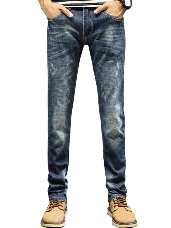 Straight Leg Zip Fly Faded Jeans - [