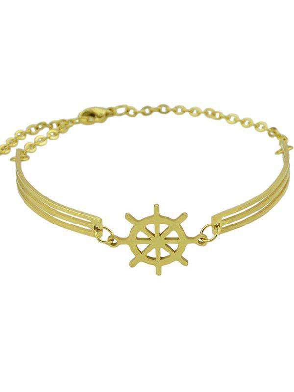 Boat Helm Decorated Charm Bracelet - GOLDEN