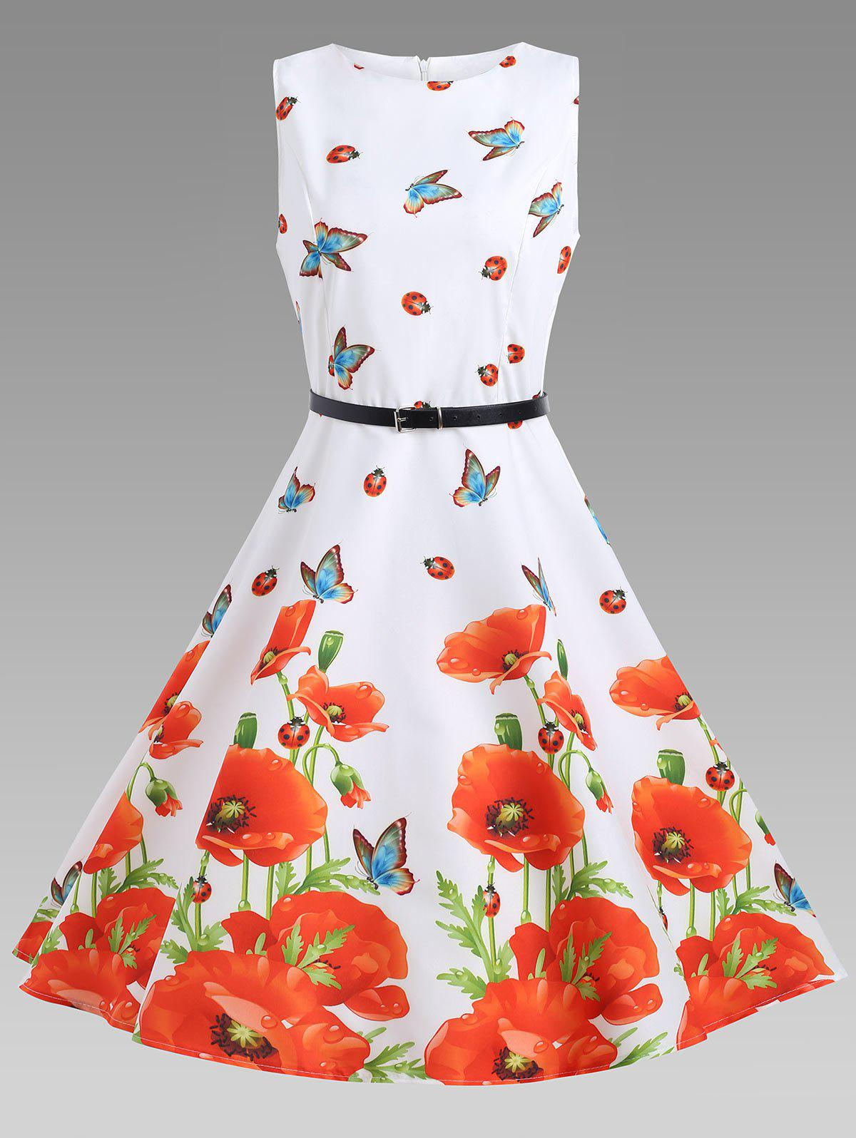Floral A Line Sleeveless Vintage Dress - FLORAL S