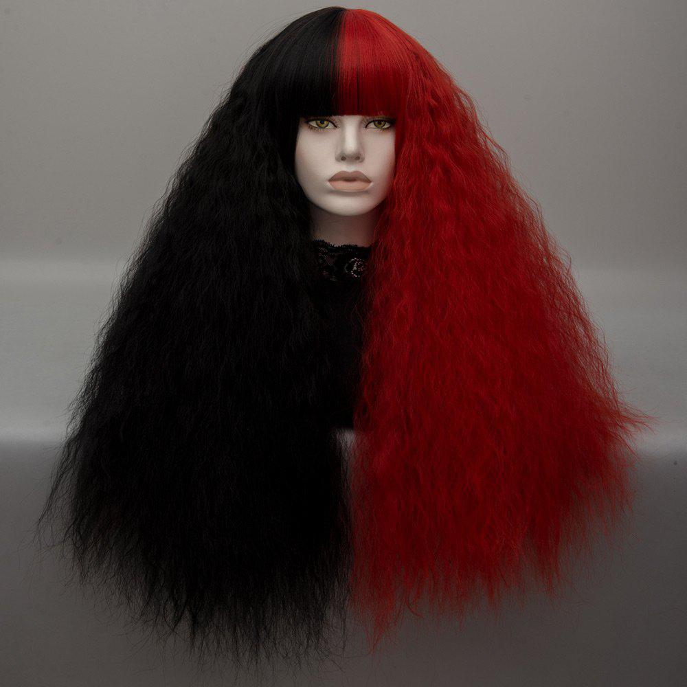 Long Neat Bang Shaggy Curly Wave Two Tone Lolita Cosplay Wig - BLACK/RED