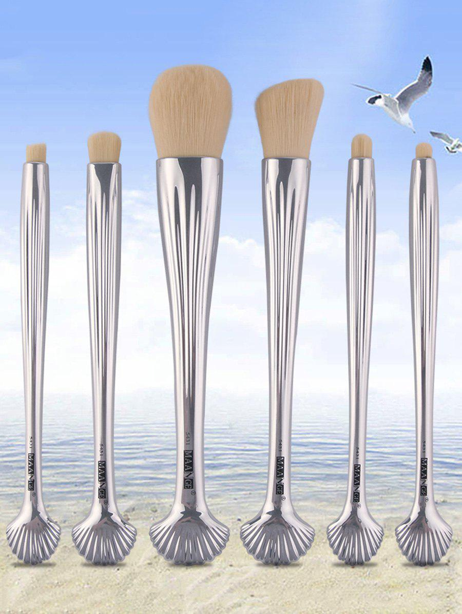 6Pcs Tiny Shell Handle Facial Plating Makeup Brushes - SILVER