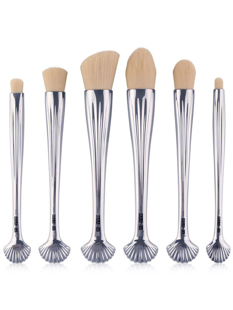 6Pcs Shell Design Plating Multipurpose Makeup Brushes Set - Blanc