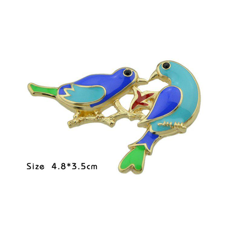 Double Alloy Bird Shaped Brooch - GOLDEN