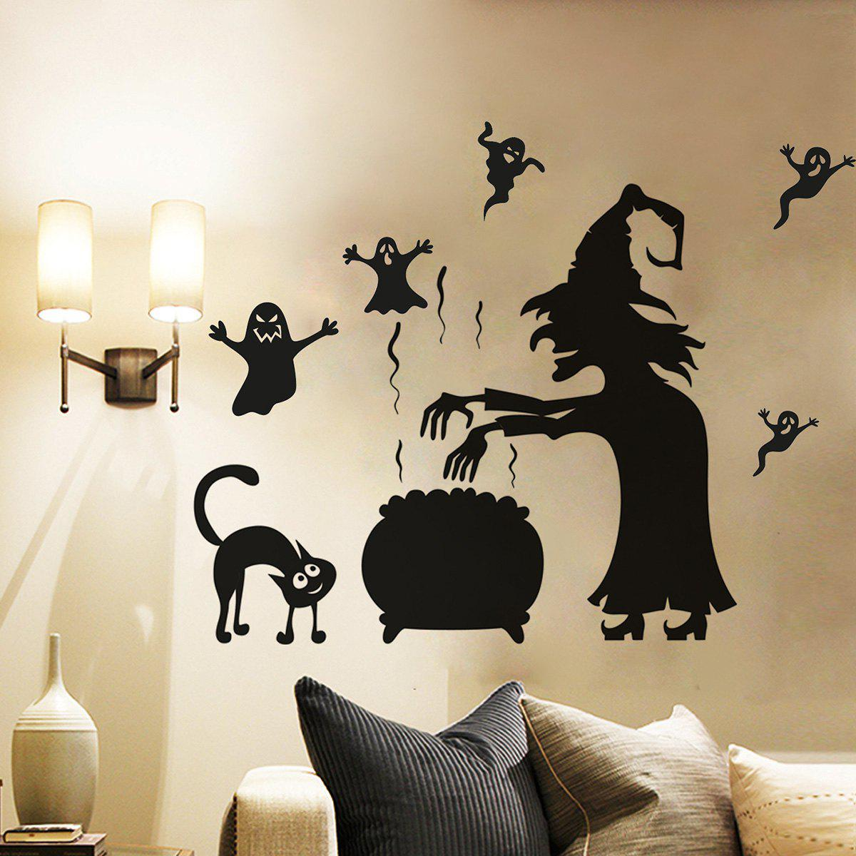2018 halloween witch ghost vinly wall stickers black cm in wall halloween witch ghost vinly wall stickers black 5770cm amipublicfo Choice Image