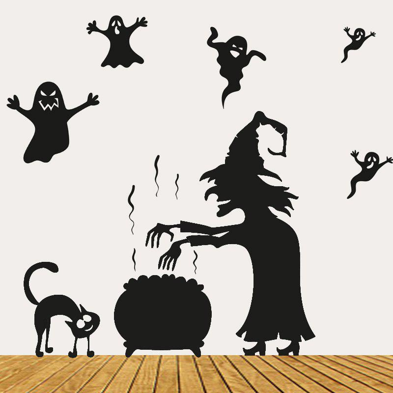 Halloween Witch Ghost Vinly Stickers muraux - Noir 57*70CM