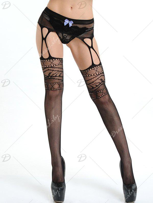 Fishnet Tights with Garter Belts - BLACK ONE SIZE