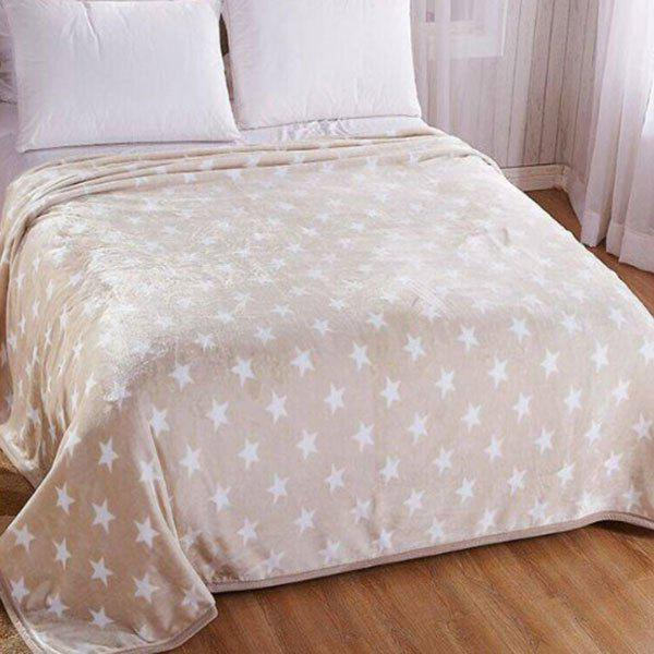 Bedroom Star Print Soft Bed Throw Blanket - LIGHT BROWN EURO KING