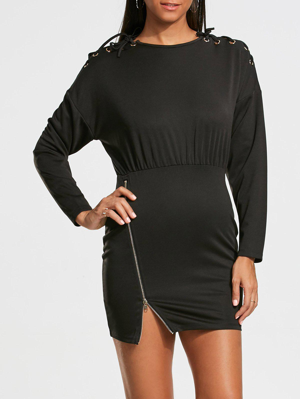 Long Sleeve Zipper Drop Shoulder Bodycon Dress - BLACK M