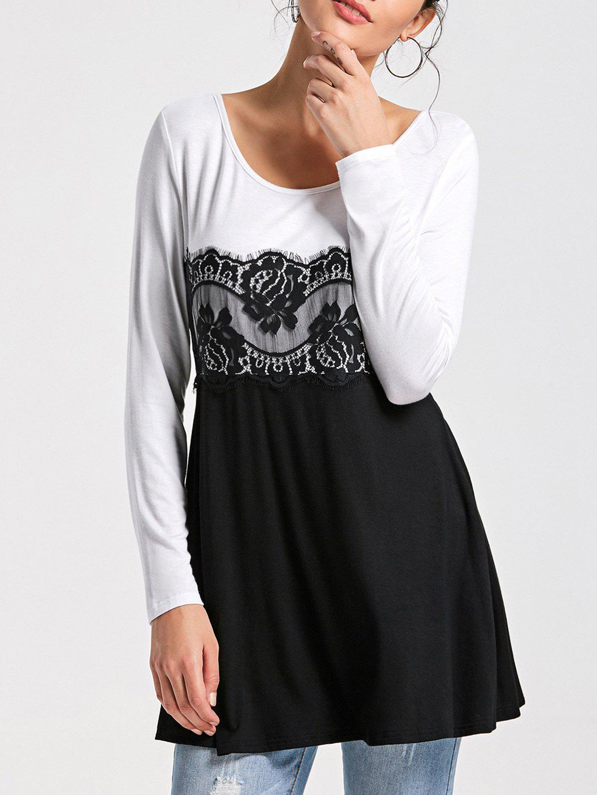 Lace Panel Long Sleeve Tunic Top - WHITE/BLACK L