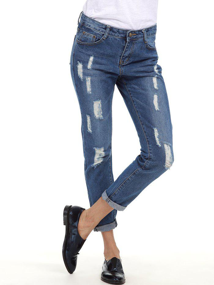 Ripped Cuffed Boyfriend Jeans - BLUE S