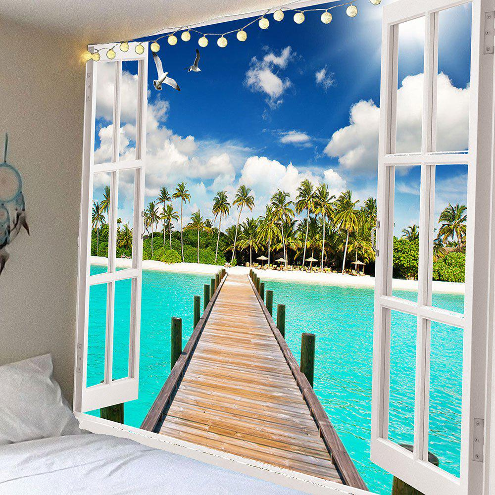 Coconut Trees Wooden Bridge Waterproof Hanging Tapestry - GREEN W79 INCH * L71 INCH