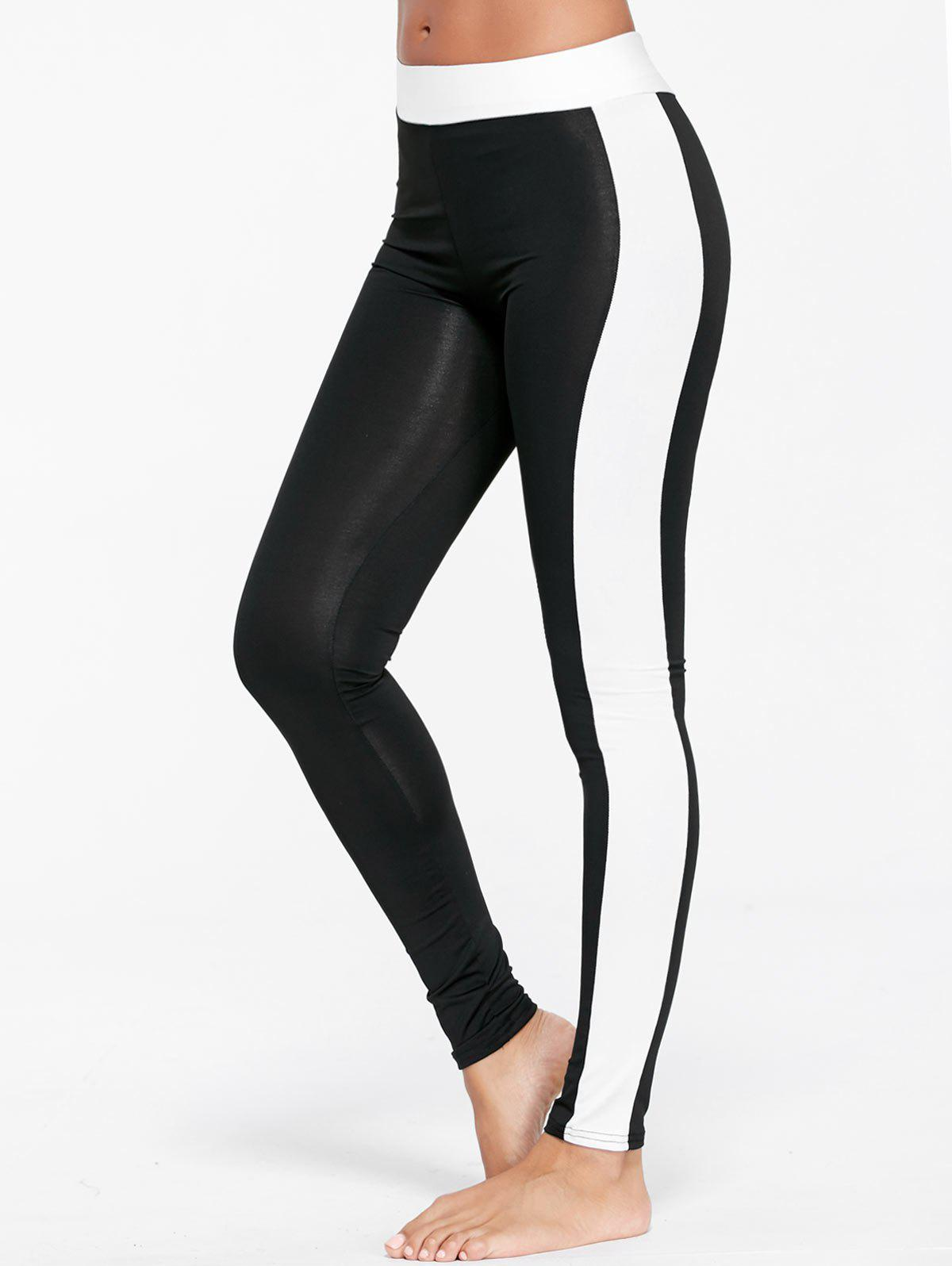 Two Tone Sports Tights - BLACK S