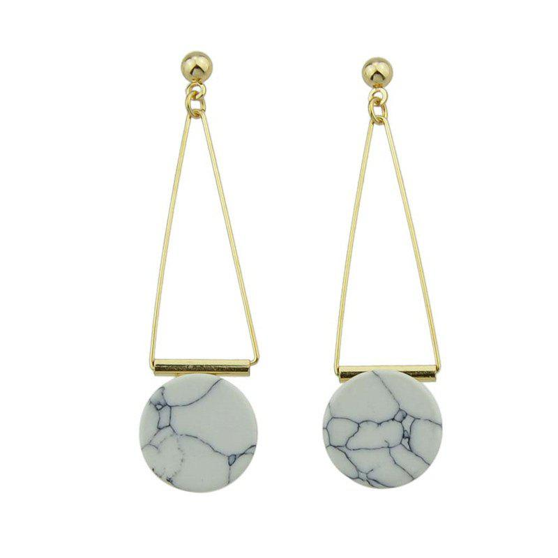 Artificial Rammel Triangle Disc Drop Earrings - Blanc