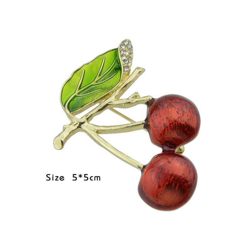 Broche Leaf Broche Fruit Litchi - Rouge